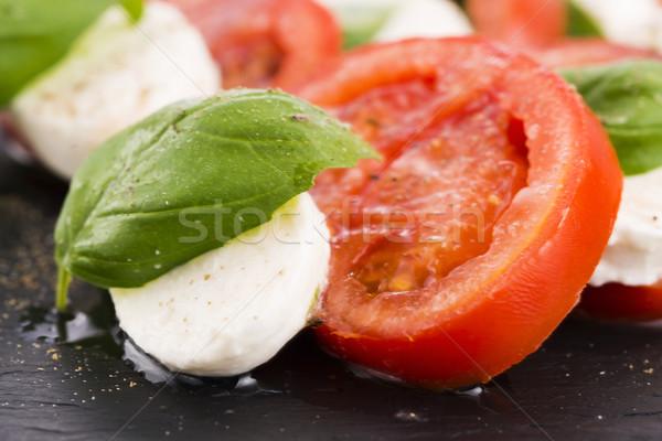 Caprese salad with mozzarella, tomato, basil and balsamic vinega Stock photo © joannawnuk