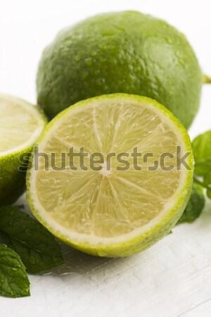 Groene mint waterdruppels witte water voedsel Stockfoto © joannawnuk