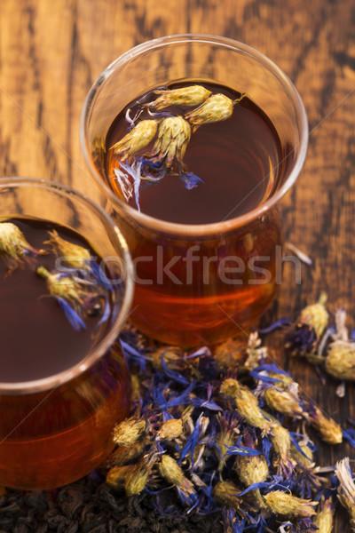 Glass cup with a cornflower tea Stock photo © joannawnuk