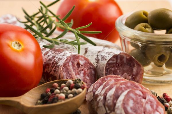 Stockfoto: Spaans · varkensvlees · worst · Rood · witte
