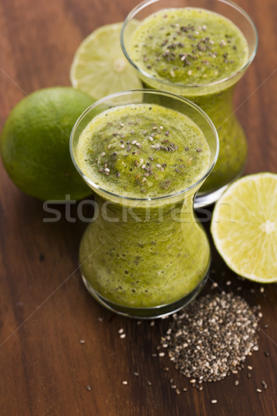 Healthy green fresh fruit and vegetable juice smoothie with chia Stock photo © joannawnuk