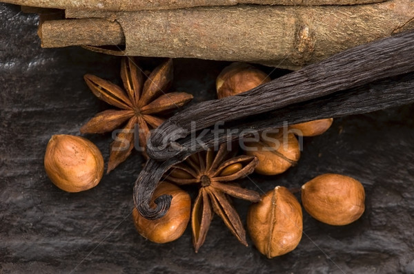 芳香族の スパイス ブラウンシュガー ナッツ 背景 星 ストックフォト © joannawnuk