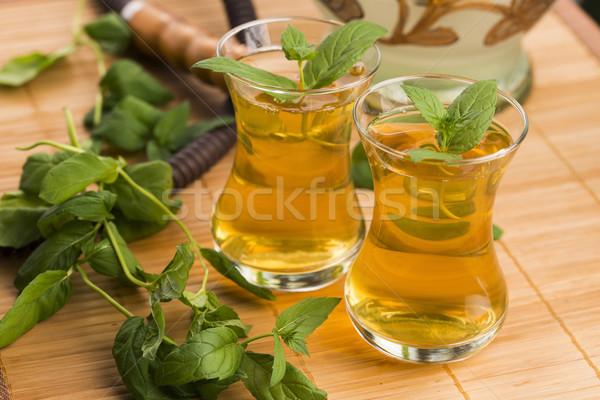 Menta tea természet fény üveg gyógyszer Stock fotó © joannawnuk