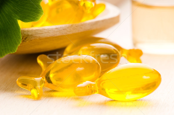 ginko biloba essential oil with fresh leaves - beauty treatment  Stock photo © joannawnuk