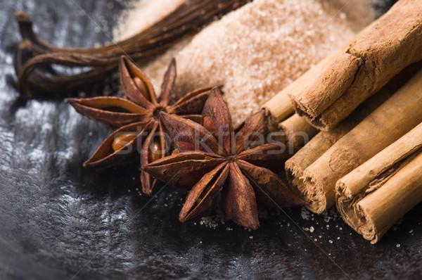 Aromatik baharatlar esmer şeker arka plan enerji renk Stok fotoğraf © joannawnuk