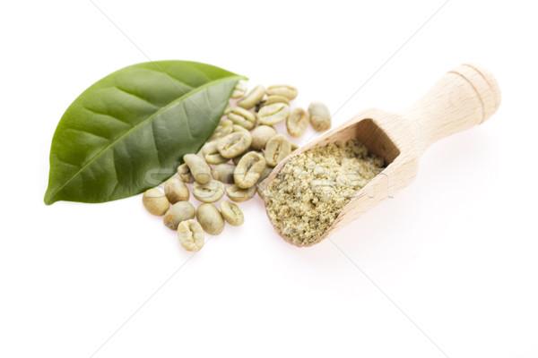 Stockfoto: Groene · koffiebonen · blad · koffie · dieet · concept
