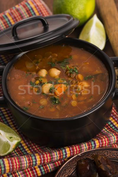Moroccan traditional soup - harira, the traditional Berber soup  Stock photo © joannawnuk