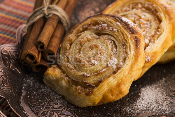 Puff pastry cookies with apple and cinnamon Stock photo © joannawnuk
