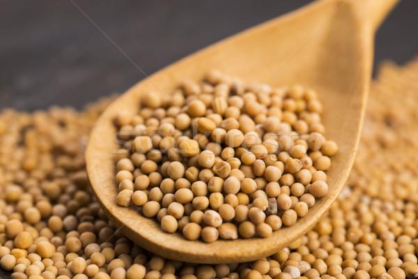 辛い マスタード 種子 木製 食品 ホット ストックフォト © joannawnuk