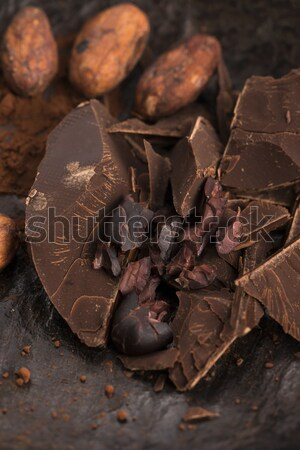 Stock photo: Chopped chocolate with cacao
