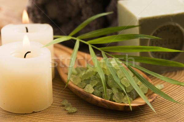 sea salt , soap and candles for spa Stock photo © joannawnuk