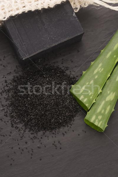 Természetes szén szappan aloe szépség fekete Stock fotó © joannawnuk