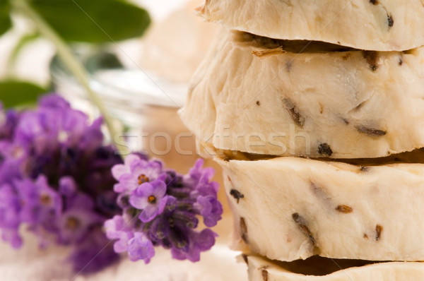 Kézzel készített szappan friss levendula virágok fürdősó Stock fotó © joannawnuk