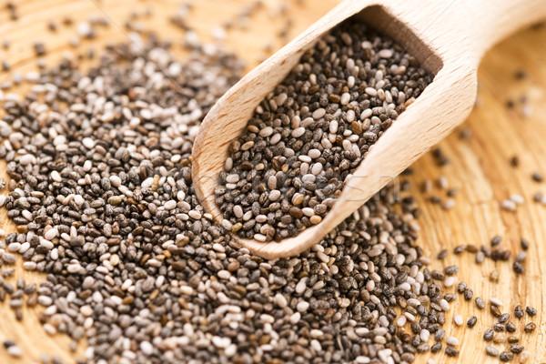 Nutritivo semillas cuchara de madera textura alimentos fondo Foto stock © joannawnuk