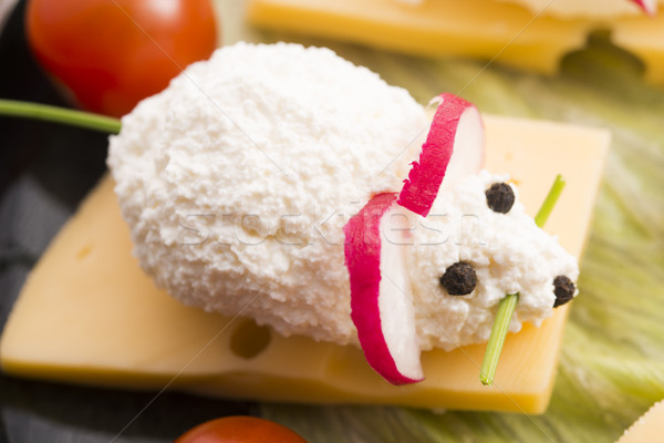 Fun food for kids - mouse with cheese Stock photo © joannawnuk