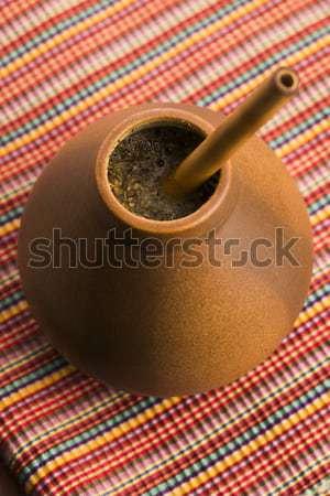 Calabash and bombilla with yerba mate Stock photo © joannawnuk