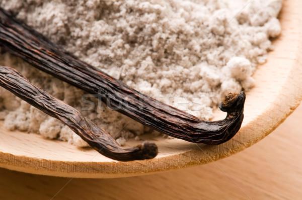 バニラ 豆 芳香族の 砂糖 葉 料理 ストックフォト © joannawnuk