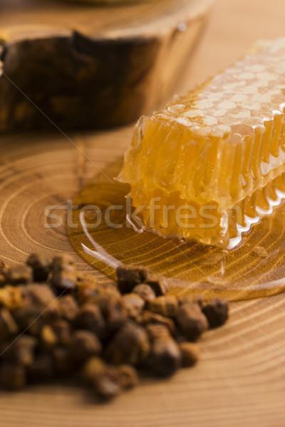 Honingraat stuifmeel propolis bloem natuur honing Stockfoto © joannawnuk