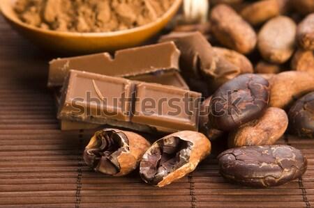 Foto d'archivio: Cioccolato · chicchi · di · caffè · spezie · dadi · sfondo · latte