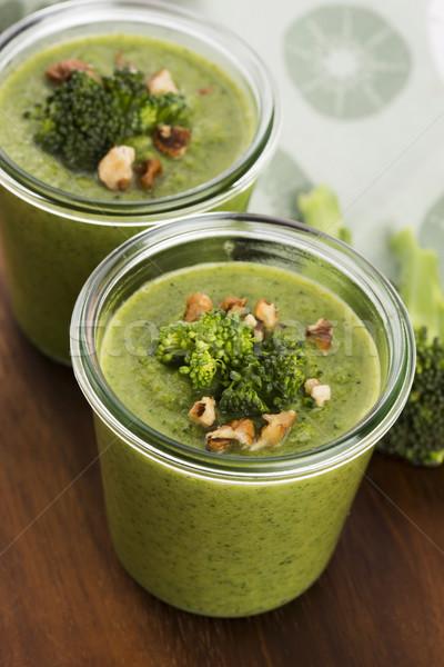 Broccoli cream soup on table Stock photo © joannawnuk