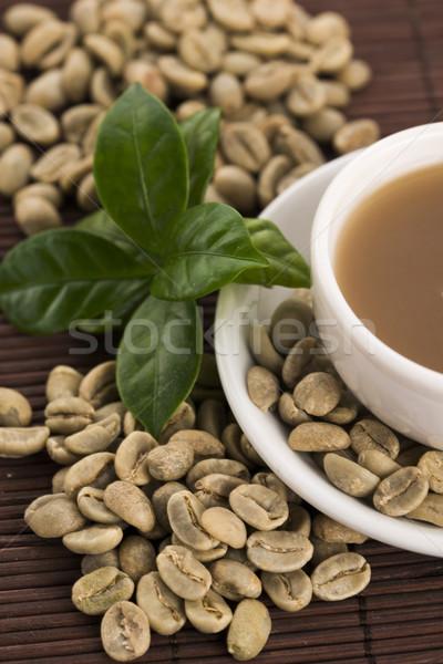 зеленый кофе пить бобов древесины лист Сток-фото © joannawnuk