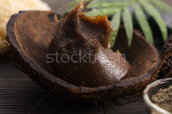 Homemade body peeling with sugar, olive oil and face mask Stock photo © joannawnuk