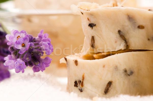 ストックフォト: ハンドメイド · 石鹸 · 新鮮な · ラベンダー · 花
