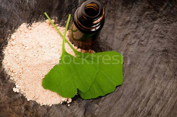 fresh leaves ginko biloba essential oil and powder - beauty trea Stock photo © joannawnuk