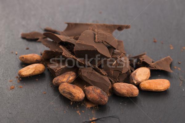 рубленый шоколадом какао продовольствие фон Бар Сток-фото © joannawnuk
