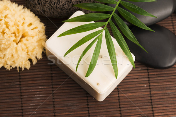 Spa setting with natural soap Stock photo © joannawnuk