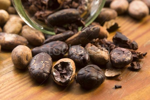 Foto stock: Cacau · feijões · naturalismo · mesa · de · madeira · chocolate · cozinha