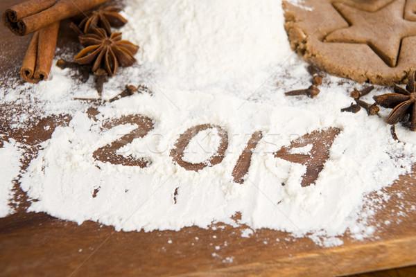 Napis mąka 2014 świetle jaj kuchnia Zdjęcia stock © joannawnuk