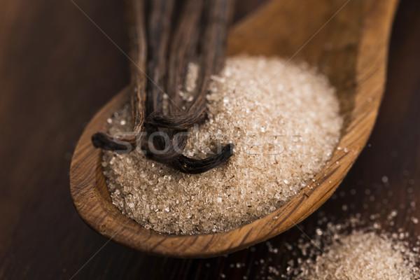 Wanilia cukru fasola żywności drewna łyżka Zdjęcia stock © joannawnuk