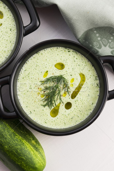 Tarator, bulgarian sour milk soup Stock photo © joannawnuk