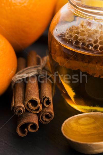 honey with citrus fruit and cinnamon Stock photo © joannawnuk