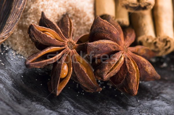 芳香族の スパイス ブラウンシュガー 背景 エネルギー 色 ストックフォト © joannawnuk