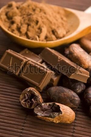 Foto stock: Chocolate · grãos · de · café · temperos · nozes · fundo · leite