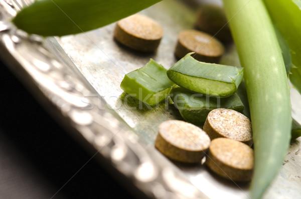 Stock foto: Aloe · Anlage · Pillen · Kräutermedizin · Natur · Blatt