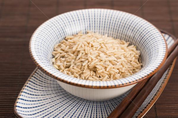 Nyers barna rizs tál eszik Stock fotó © joannawnuk