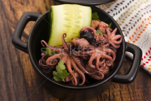 Polpo greco mangiare vino forcella cottura Foto d'archivio © joannawnuk