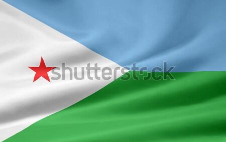 Banderą Dżibuti Afryki tkaniny banner Zdjęcia stock © joggi2002