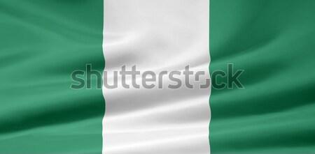 Bayrak Nijerya Afrika bez afiş simge Stok fotoğraf © joggi2002