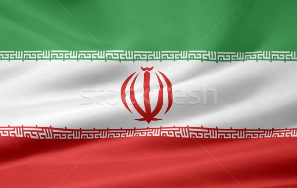 Bayrak İran rüzgâr bez afiş simge Stok fotoğraf © joggi2002