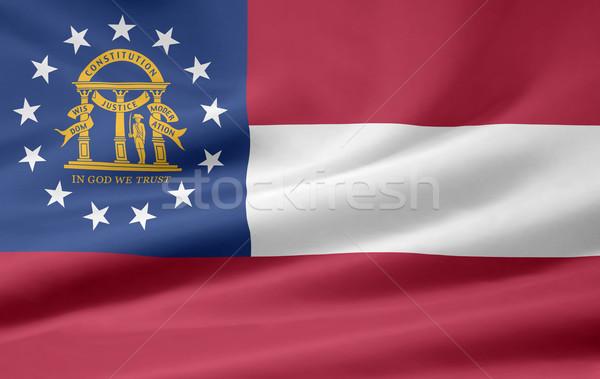 Zászló Grúzia csillagok piros fehér szabad Stock fotó © joggi2002