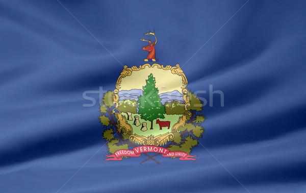 Bayrak Vermont Yıldız mavi kırmızı rüzgâr Stok fotoğraf © joggi2002