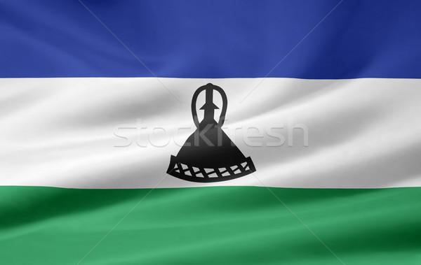 Zászló Lesotho Afrika ruha szalag szimbólum Stock fotó © joggi2002