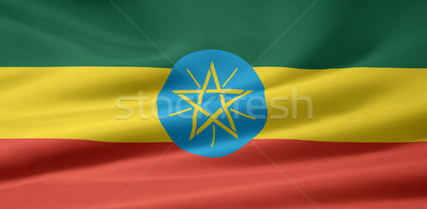 Zászló Etiópia Afrika ruha szalag Stock fotó © joggi2002