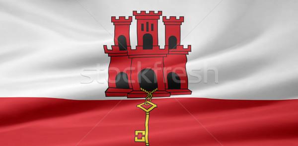 Zászló Gibraltár korona fehér Európa vidék Stock fotó © joggi2002