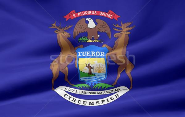 Bayrak Michigan Yıldız kırmızı beyaz ücretsiz Stok fotoğraf © joggi2002