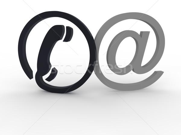 Kommunikáció szimbólumok iroda kapcsolat háló segítség Stock fotó © joggi2002